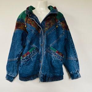 Vintage Current Seen Denim Jean Jacket Tapestry M